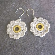 Ravelry: 9 Petal Flower Earrings pattern by Gene Saunders