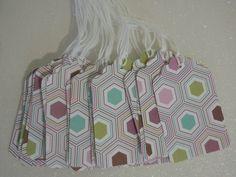 Set of 22 Prestrung --Gift Tags -- purple hexagons. $3.30, via Etsy.