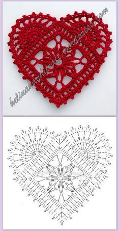 Crochet Heart Motif - Free Crochet Diagram - Then just add your…pretty crochet heart by Stoeps; i like the miniature flower budsDiscover thousands of images about pretty crochet heartPatrones Crochet Corazones San Valentin - Crochet and KnitDelicad Crochet Diagram, Crochet Chart, Thread Crochet, Crochet Stitches, Crochet Doilies, Applique Stitches, Crochet Owls, Crochet Granny, Knit Crochet