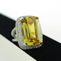 Sterling Silver Chunky Rectangular Simulated Citrine Yellow CZ with Pave CZ Double Frame Setting Cocktail Ring 7 *** Learn more by visiting the image link. (This is an affiliate link) Double Frame, Girls Best Friend, Cocktail Rings, Perfume Bottles, Cocktails, Jewels, Sterling Silver, Yellow, Arizona