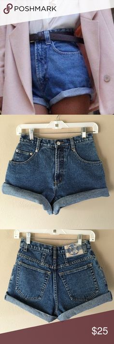 """Vintage high waisted cut off shorts Vintage Espirit high waisted mid wash denim mom shorts. Size 24/25. Tag says size 3. Waist 12"""" across, hips 20"""", inseam 4"""" unrolled, rise 11.5"""". Great condition no flaws. Not Levi's. Levi's Shorts Jean Shorts"""