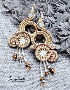 Luxurious soutache earrings in gold. Soutache jewelry.
