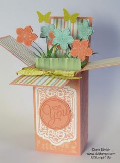 Stampin' Up! Pop Up Surprise card 'box' using the Petite Petals stamp set, how-to make grass