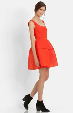 maje 'Robe Matiere Basket' Mesh Fit & Flare Dress available at #Nordstrom