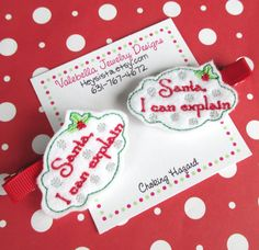 #Handame #SantaICanExplain #Christmas #HairClip by Heysista.etsy.com #Etsy #EtsyKids #StockingStuffer