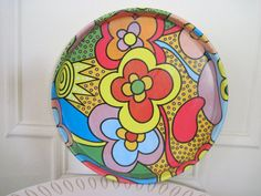 vintage 70s Psychedelic Cocktail Tray - Tea Tray - Serving Platter