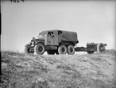 Wheeled British WWII Scammell Pioneer towing an 8-inch howitzer