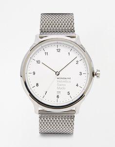 Image 1 - Mondaine - Helvetica - Montre avec bracelet imitation cotte de maille