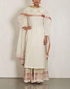 White Cotton Sharara Set-SUKRITI & AAKRITI