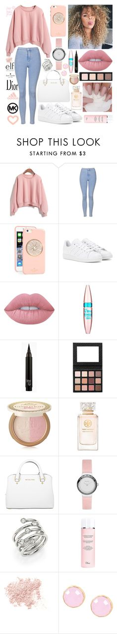 Pinks by inspiredfashionn ❤ liked on Polyvore featuring Topshop, Kate Spade, adidas, Lime Crime, Maybelline, Too Faced Cosmetics, Tory Burch, Michael Kors, Skagen and Christian Dior