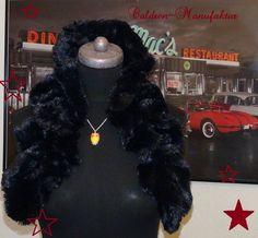Teddyfell Kunstfell Kunstpelz Vintage Schal BLACK von Caldren-Manufaktur auf DaWanda.com