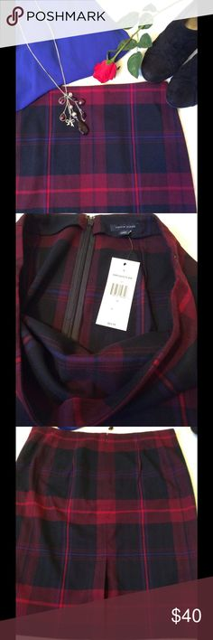 NWT Tommy Hilfiger Burgundy Plaid Pencil Skirt Tommy Hilfiger NWT $64.99 Size 10 Straight skirt Black Royal blue Red and Burgundy 64% Polyester 34% Viscose 2% Elastine Back zipper with Hook Closure 22in waist to hem 17in waist laying flat 20in Hips 19in bottom opening Slit in back and kick pleat stitched shut.  Be sure to cut thread before wearing. Tommy Hilfiger Skirts Pencil