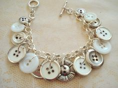 Button Charm Bracelet,Vintage and Modern,OOAK. $24.95, via Etsy.
