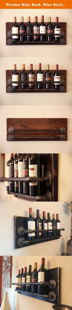Wooden Wine Rack, Wine Bottle Holder. If anything in your home should be easy to find, it's wine. Put your finest selections on display with our handmade, industrial wine rack! Made from freshly cut Alder Hardwood with real steel pipe. It's perfect for any bar, wine cellar, wine room, or dining room. And let's be honest, who wouldn't want a beautiful wine rack as a gift? I mean, it holds wine. WINE! And it looks darn good in the process. The perfect housewarming gift or special present…