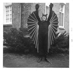 Vintage Halloween bat costume..was he able to put his arms down?
