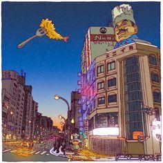 Tokyo 100 Views est un projet imaginé par l'illustrateur japonais Shinji Tsuchimochi, qui nous propose de découvrir le Tokyo d'aujourd'hui à travers 100 il