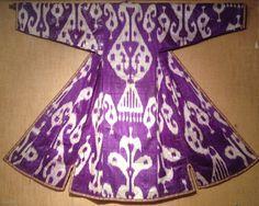Silk & Cotton Ikat Chapan. Uzbekistan. Late 19th century.