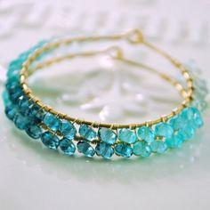 Gemstone Hoop Earrings Genuine Aquamarine Apatite by livjewellery, $115.00