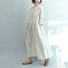 2017 white linen dresses oversize casual long linen maxi dress traveling dressesThis unique deisgn deserves the best quality texture. The fabric of this article is soft, comfortable and breathy.Flattering cut. Makes you look slimmer and matches easlily with jeans, leggings stylish pants or skirts. Measurement: One size fits all for this item. Please make sure your size doesn't exceed this size: XXL/BUST-112cm length 125cm / 48.75