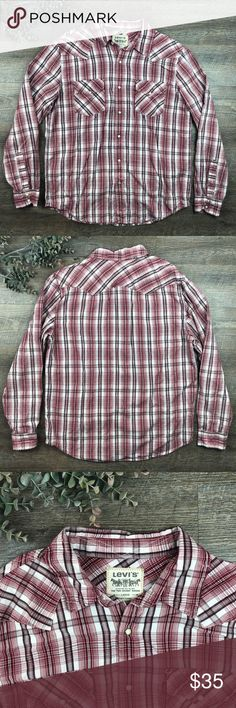 Levi's Plaid Button Down Long Sleeved Shirt Top Great red/Burgundy and white Levi's button down shirt! In excellent condition. 100% cotton. Size L. (L-10. B) Levi's Shirts Casual Button Down Shirts