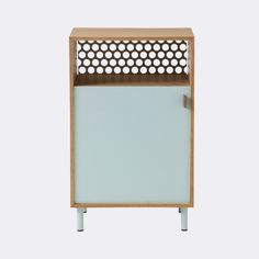 ferm LIVING Cabinet Bed Side Table Grey --- This cabinet is the combination of oak coated metal and leather.Size: W: 36 x H: 57 x cmMaterial: Oiled Oak cabinet and powder coated metal.Treat with oil.