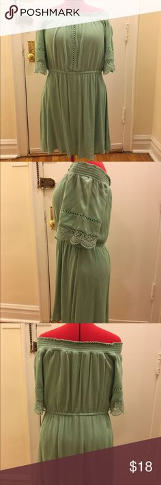 Xhiliration mint green off-shoulder dress Lightweight crepe fabric, elastic waist, fully lined. Perfect with wedges! Xhilaration Dresses