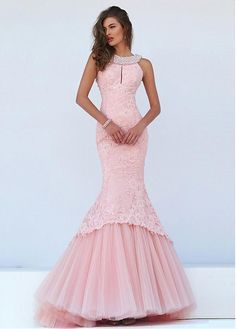 Fantastic Tulle & Satin Jewel Neckline Mermaid Evening Dresses With Lace Appliques