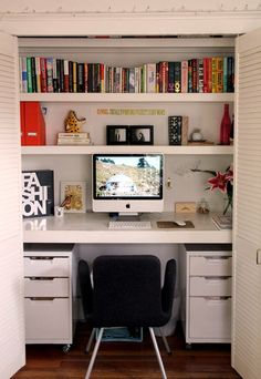 Компактный домашний офис — скрытое рабочее место в шкафу
