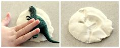 DIY Dinosaur Fossils out of play-doh set out to dry while watching Ice Age. :)