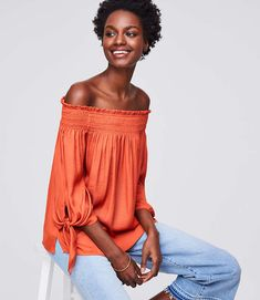 Shop LOFT for stylish women's clothing. You'll love our irresistible Tie Cuff Off The Shoulder Top - shop LOFT.com today!