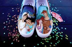 Custom Converse Shoes, Vans Shoes Fashion, Vans Slip On Shoes, Custom Shoes, Disney Painted Shoes, Painted Canvas Shoes, Painted Vans, Painted Clothes, Hand Painted