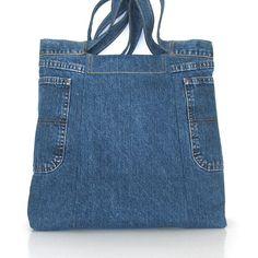 Sac à main de jean recyclé gros à la main récupéré denim Sac