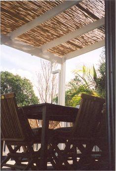 Cane reed shading for on top of our outdoor living area pergola.