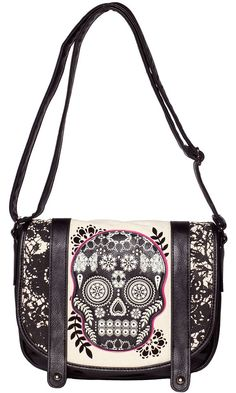 LOUNGEFLY LACE SKULL WITH FUSCHIA MESSENGER BAG