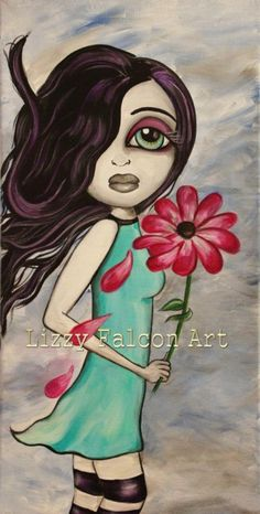 Lowbrow big eye art PRINT of original painting by lizzyfalconart, $25.00