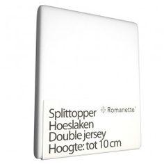 Zojuist Split Topper Hoeslaken Romanette Wit (Double Jersey)-180 x 200/210/220 cm gekocht: