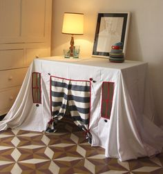 Playhouse tablecloth Striped Spring by StripedCoast on Etsy