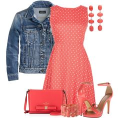 """Coral Dots"" by maggie478 on Polyvore"