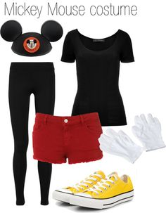 """Mickey Mouse Halloween Costume"" by hiddles-and-cumberbatch ❤ liked on Polyvore"