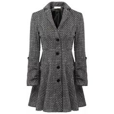 Relaxfeel Women's Retro Big Swing Wool Coat Gray ($59) ❤ liked on Polyvore featuring outerwear, coats, grey, retro coat, grey wool coat, evening coat, travel coat and woolen coat