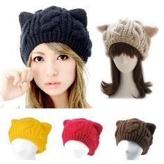 "FOR PUSSY CAT LOVERS!!! ""Cat Ears"" Knitted Beanie Cap for your own Crazy Pussy Hat look! Meowzer!! Practical and stylish knitted cap in 5 great colors: Red, Black, Beige, Brown & Yellow. Picked exclus"