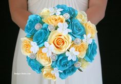 Turquoise and Yellow wedding flower brides bouquet with stephanotis and jewels