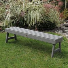 Havenside Home Mandalay Eco-friendly Synthetic Wood Picnic Bench (Grey), Outdoor Patio Furniture (Plastic) Plastic Garden Bench, Teak Garden Bench, Outdoor Garden Bench, Wooden Garden Benches, Planter Bench, Outdoor Decor, Outdoor Benches, Backyard Patio, Park Benches