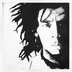 Bob Marley, black and white acrylic