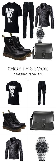 """Bad boy"" by hannah-graves ❤ liked on Polyvore featuring NIKE, AMIRI, Montblanc, HUGO, men's fashion and menswear"