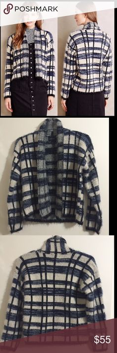 """Anthropologie Plaid Eyelash Cardigan By La Fee Verte. NWOT, never worn. Open front style. Length 22"""". So soft and cozy! Anthropologie Sweaters Cardigans"""