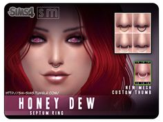 Septum Ring Piercing by Screaming Mustard at TSR via Sims 4 Updates Skin Piercing, Facial Piercings, Septum Piercings, Sims 4 Cc Skin, Sims Cc, Diy Nose Rings, Sims 4 Piercings, Sims 4 Cc Kids Clothing, Sims 4 Dresses
