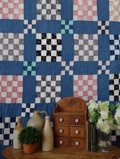 Antique Primitive Indigo Blue QUILT Indigo blue and white shirting prints. Wonderful country pattern in the 25 patch. Home Decor Accessories, Decorative Accessories, Old Home Remodel, Blue Quilts, Country Primitive, Indigo Blue, Elle Decor, Glass Jars, Country Decor