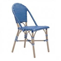 Cafe Bistro Navy Blue & White Patio Dining Chair Set 2