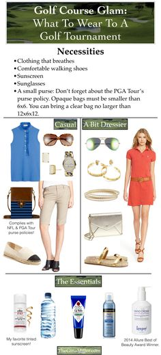 What To Wear To A Golf Tournament: heading to a PGA tournament. Here some style inspiration and list of things you can and cannot bring on the course. Get the full skinny on TheGinaMiller.com.